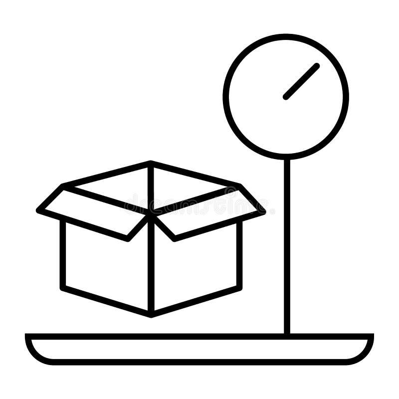 Ligne mince icône de poids de cargaison Illustration de vecteur de bagage et d'échelle d'isolement sur le blanc Boîte sur la conc illustration libre de droits