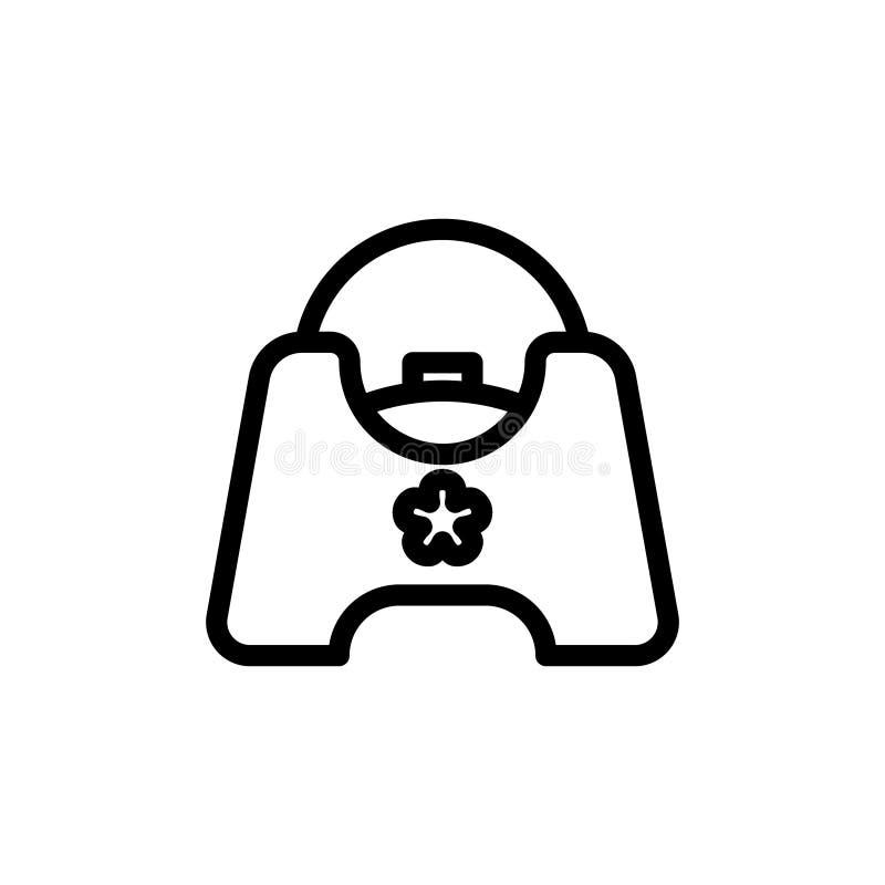 Ligne mince icône de pot de bébé Signe simple de vecteur de pot de formation d'enfant illustration libre de droits
