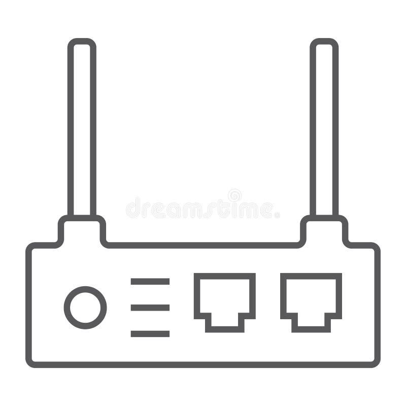 Ligne mince icône de routeur, Internet et connexion, signe de wifi, graphiques de vecteur, un modèle linéaire sur un fond blanc illustration stock