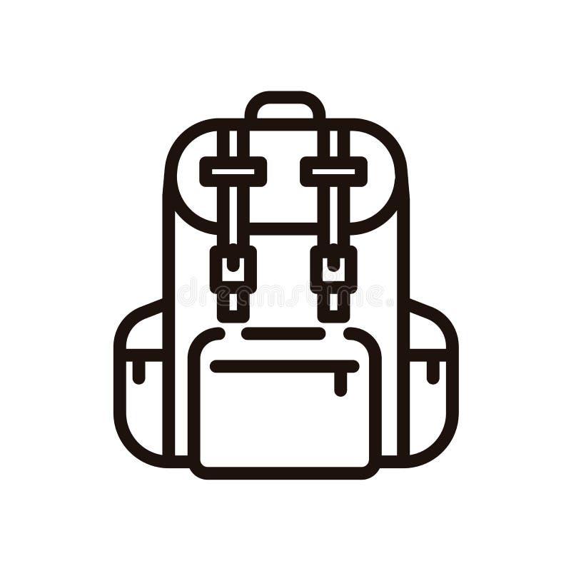 Ligne mince icône de sac à dos École ou sac de déplacement illustration stock