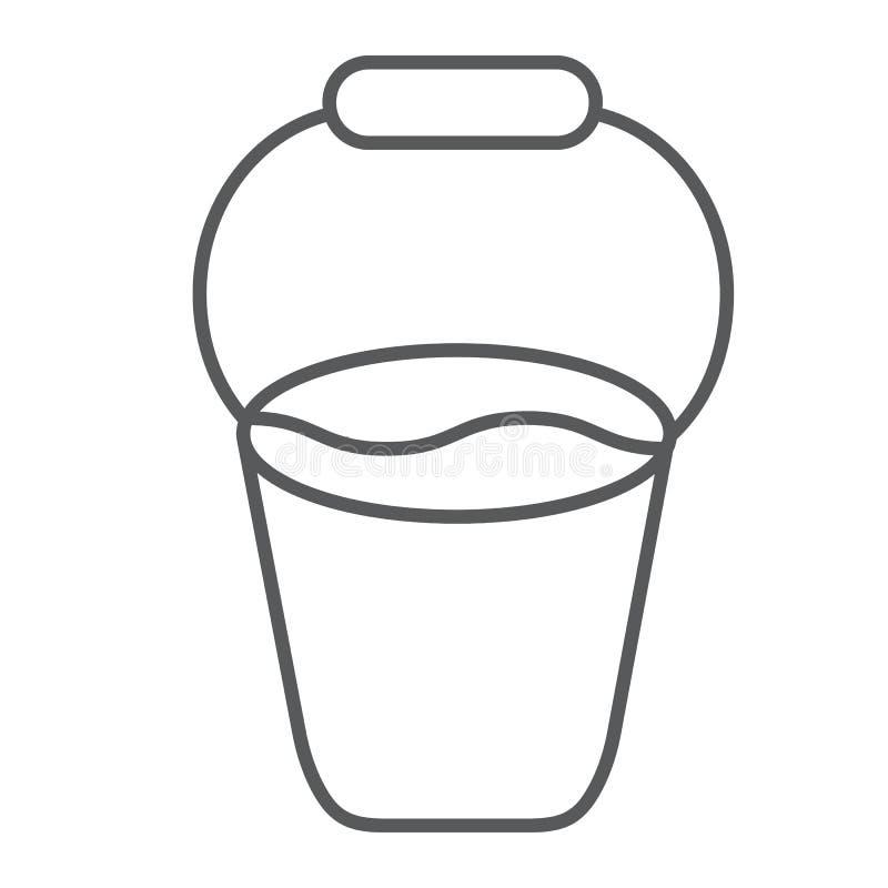 Ligne mince icône de seau, outil et ferme, signe de conteneur, graphiques de vecteur, un modèle linéaire sur un fond blanc illustration de vecteur