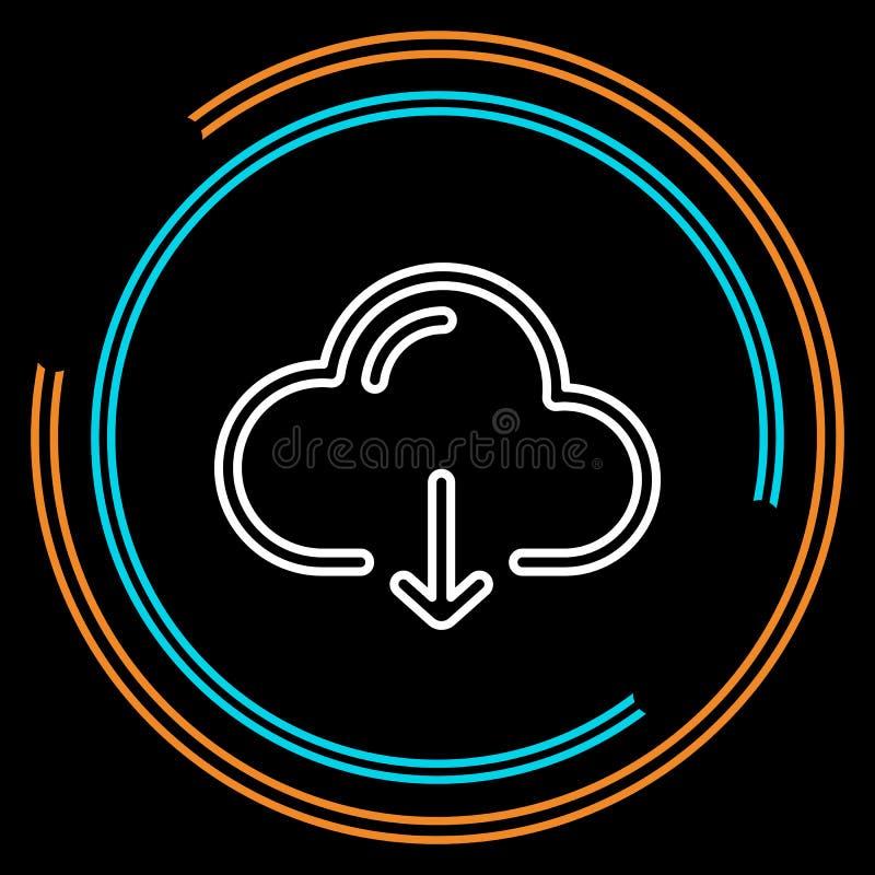 Ligne mince icône de téléchargement simple de nuage de vecteur illustration de vecteur