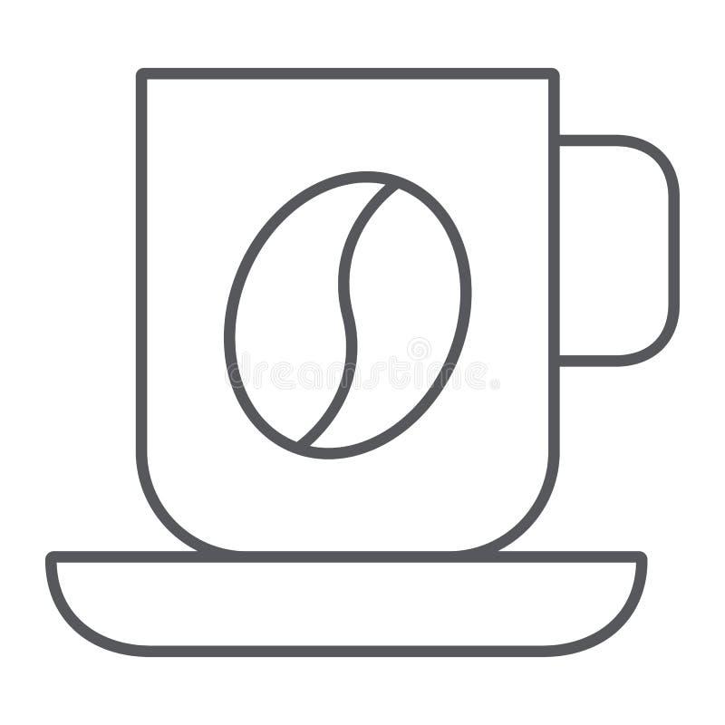 Ligne mince icône de tasse de café, nourriture et boisson, signe de tasse, graphiques de vecteur, un modèle linéaire sur un fond  illustration libre de droits