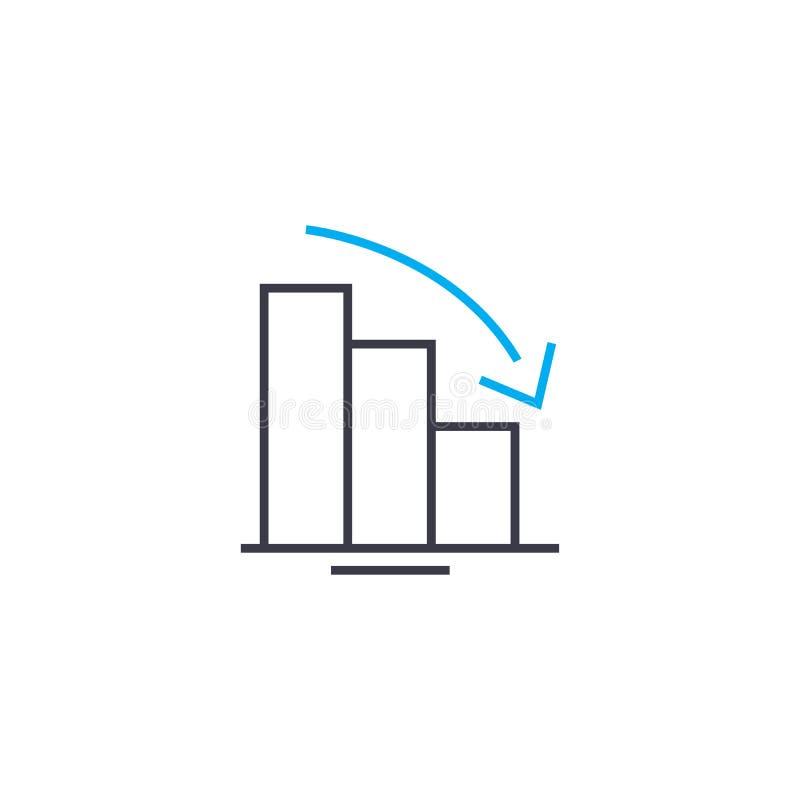 Ligne mince icône de vecteur de diagramme de tendance à la baisse de course Illustration d'ensemble de diagramme de tendance à la illustration de vecteur