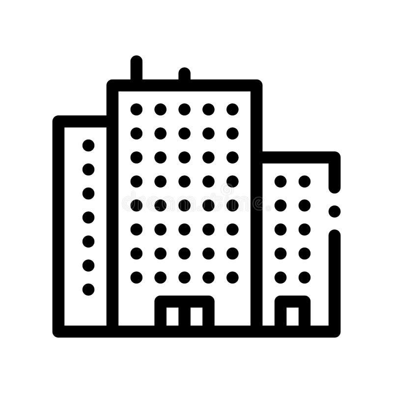 Ligne mince icône de vecteur de gratte-ciel de Chambre d'appartement illustration stock