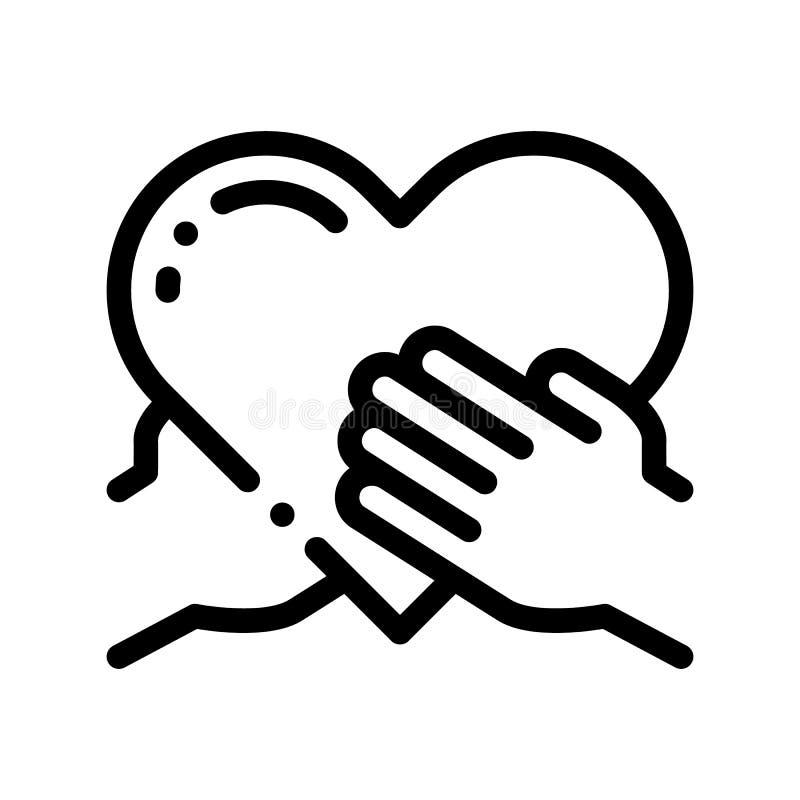 Ligne mince icône de vecteur de prise de main de soutien de volontaires illustration de vecteur
