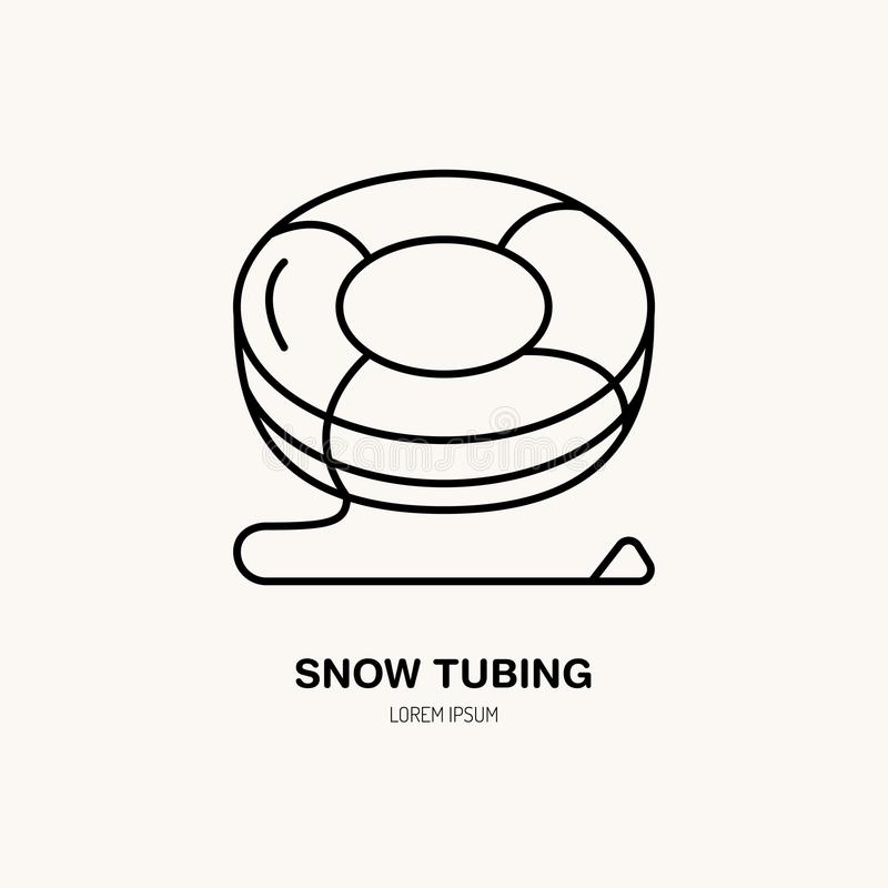 Ligne mince icône de vecteur de tuyauterie de neige Logo de loyer d'équipement de récréation d'hiver Symbole d'ensemble, signe fr illustration de vecteur