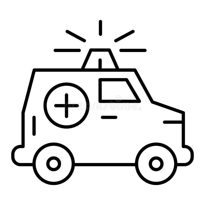 Ligne mince icône de voiture d'ambulance Voiture médicale avec l'illustration de vecteur de bateau d'isolement sur le blanc Style illustration stock