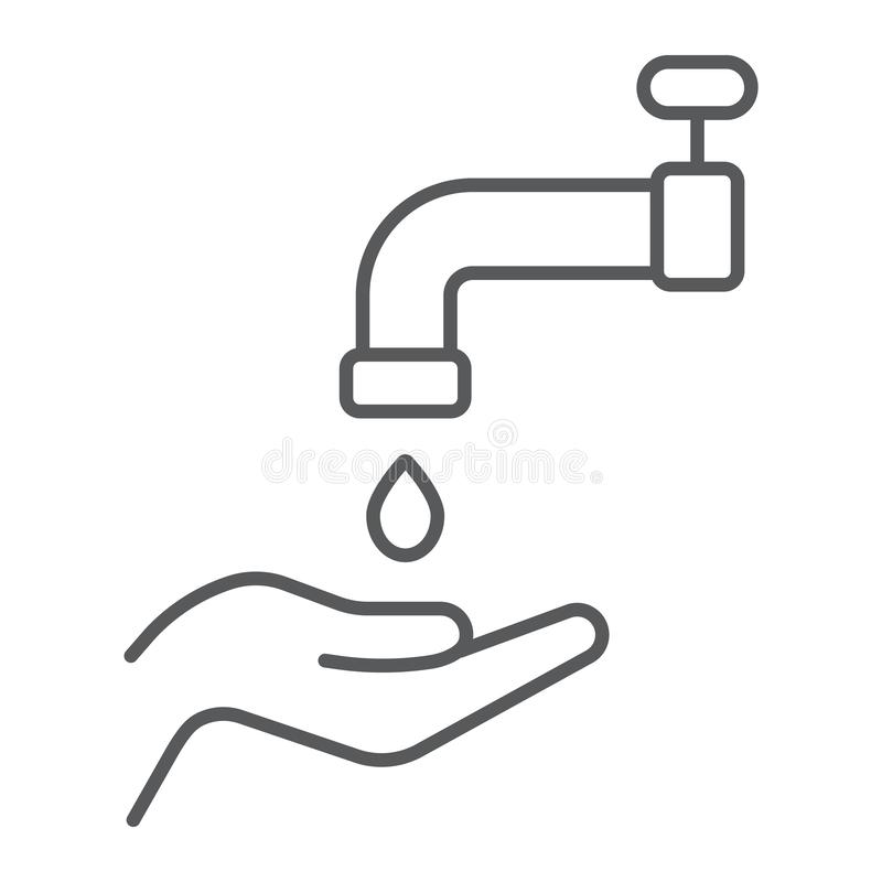 Ligne mince icône de wudu islamique, arabe et prière, signe de lavage de main, graphiques de vecteur, un modèle linéaire sur un f illustration de vecteur