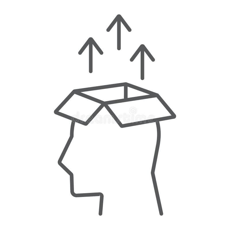 Ligne mince icône, données d'extraction de connaissance illustration de vecteur