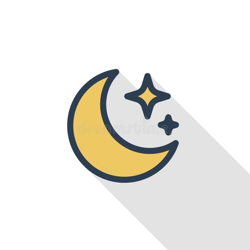 Ligne mince icône plate de nuit, de lune et d'étoile de couleur Symbole linéaire de vecteur Longue conception colorée d'ombre illustration libre de droits