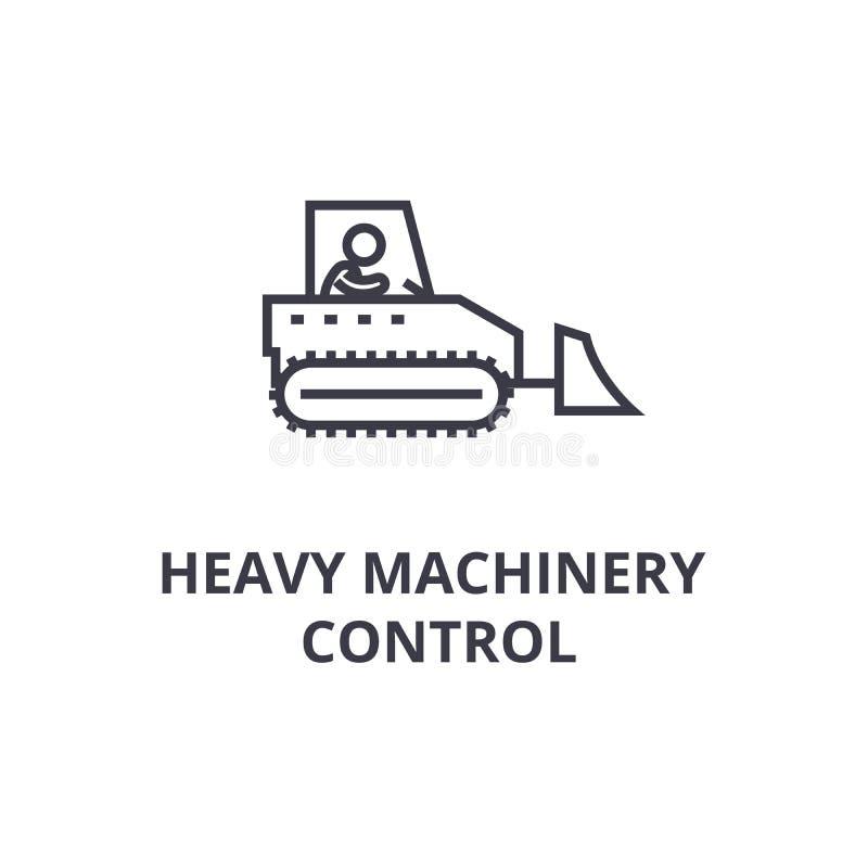 Ligne mince icône, signe, symbole, illustation, concept linéaire, vecteur de contrôle de machines lourdes illustration de vecteur