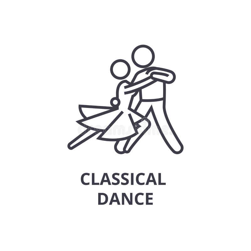 Ligne mince icône, signe, symbole, illustation, concept linéaire, vecteur de danse classique illustration libre de droits