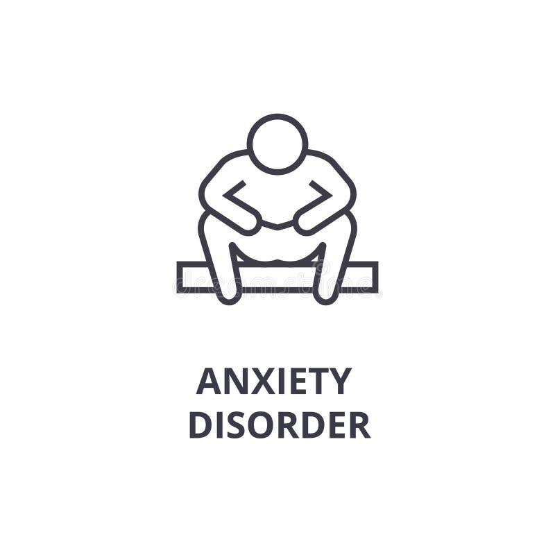 Ligne mince icône, signe, symbole, illustation, concept linéaire, vecteur de trouble d'anxiété illustration de vecteur