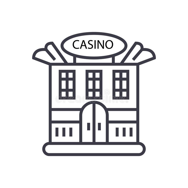 Ligne mince icône, symbole, signe, illustration de vecteur de concept de bâtiment de casino sur le fond d'isolement illustration stock