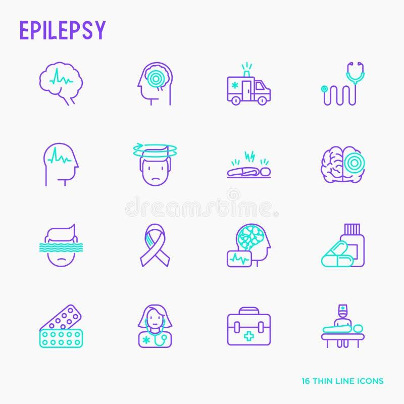 Ligne mince icônes d'épilepsie réglées des symptômes illustration libre de droits