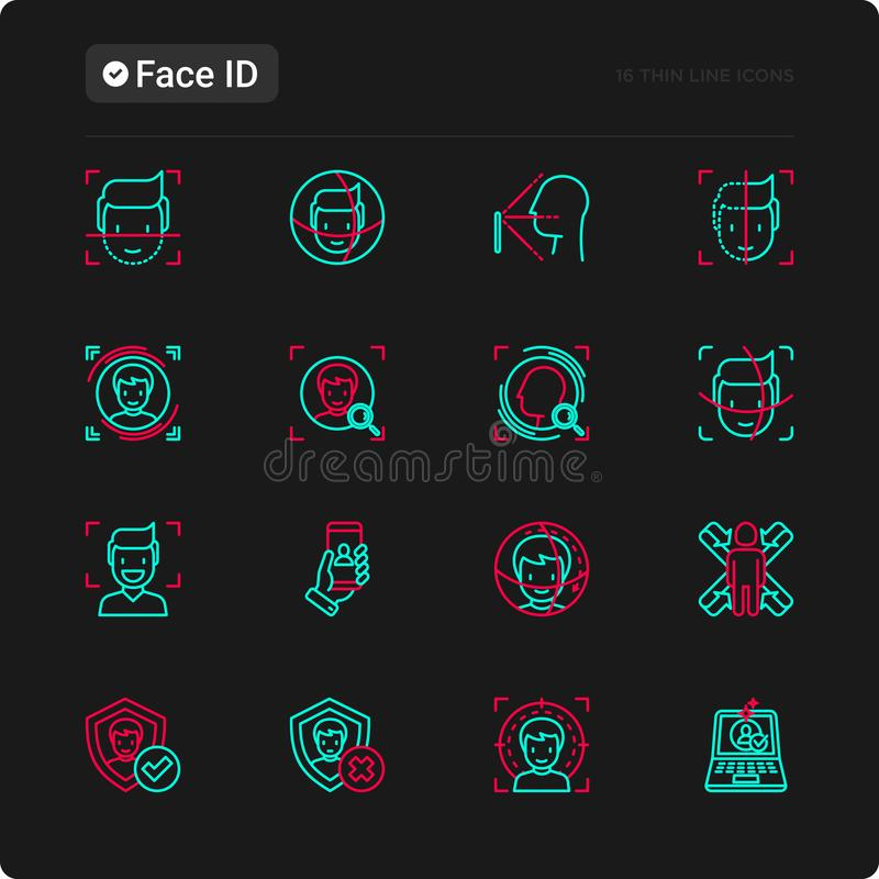 Ligne mince icônes d'identification de visage réglées illustration stock