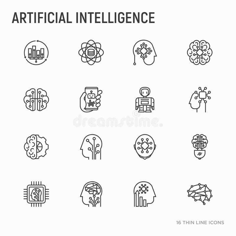 Ligne mince icônes d'intelligence artificielle réglées illustration stock