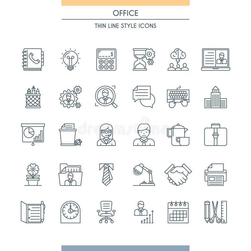 Ligne mince icônes de bureau de conception illustration stock