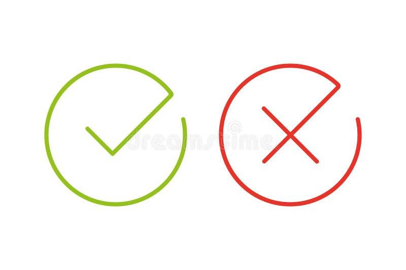 Ligne mince icônes de coche illustration libre de droits