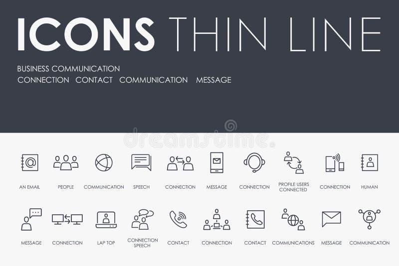Ligne mince icônes de COMMUNICATION d'AFFAIRES illustration de vecteur