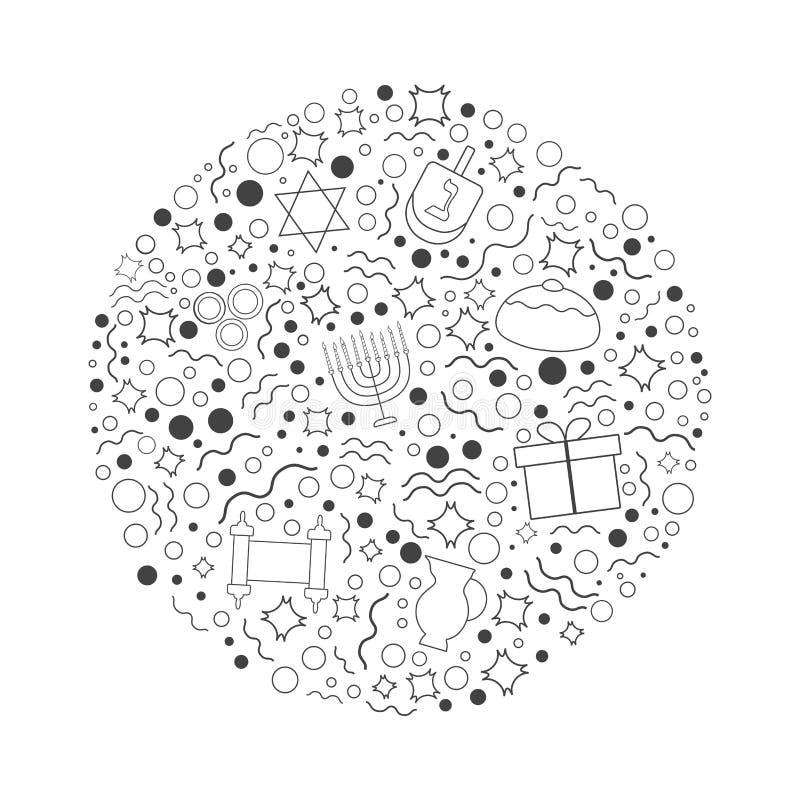 Ligne mince icônes de noir plat de conception de vacances de Hanoucca réglées dans le rond illustration de vecteur