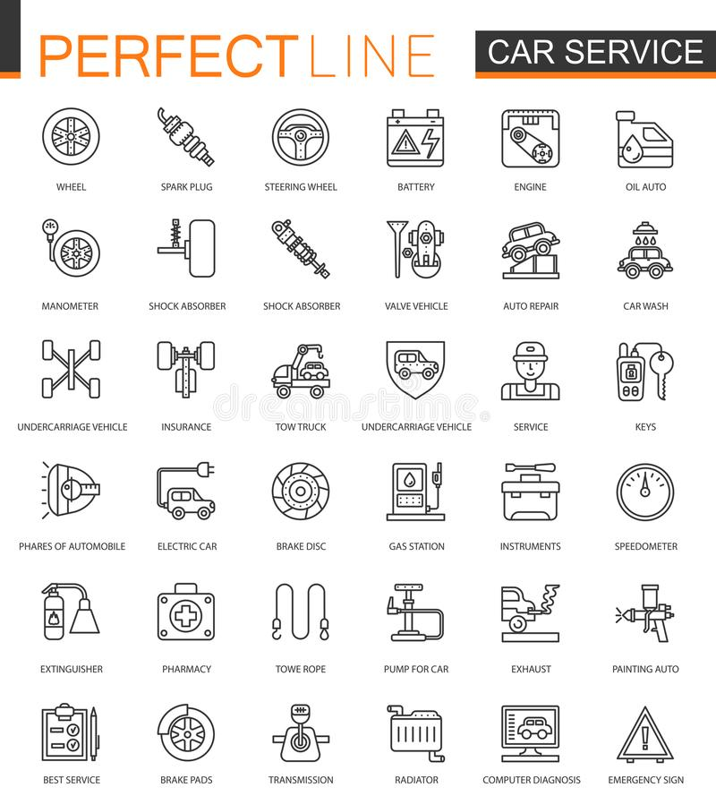 Ligne mince icônes de service des réparations de voiture de Web réglées Conception d'icônes de course d'ensemble illustration libre de droits
