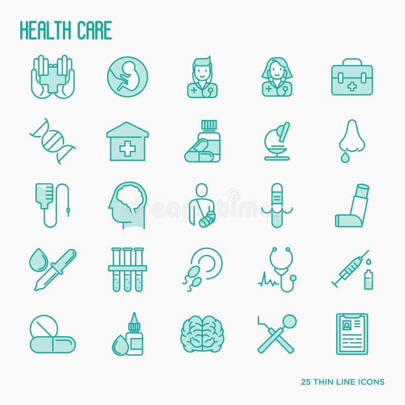 Ligne mince icônes de soins de santé réglées illustration de vecteur