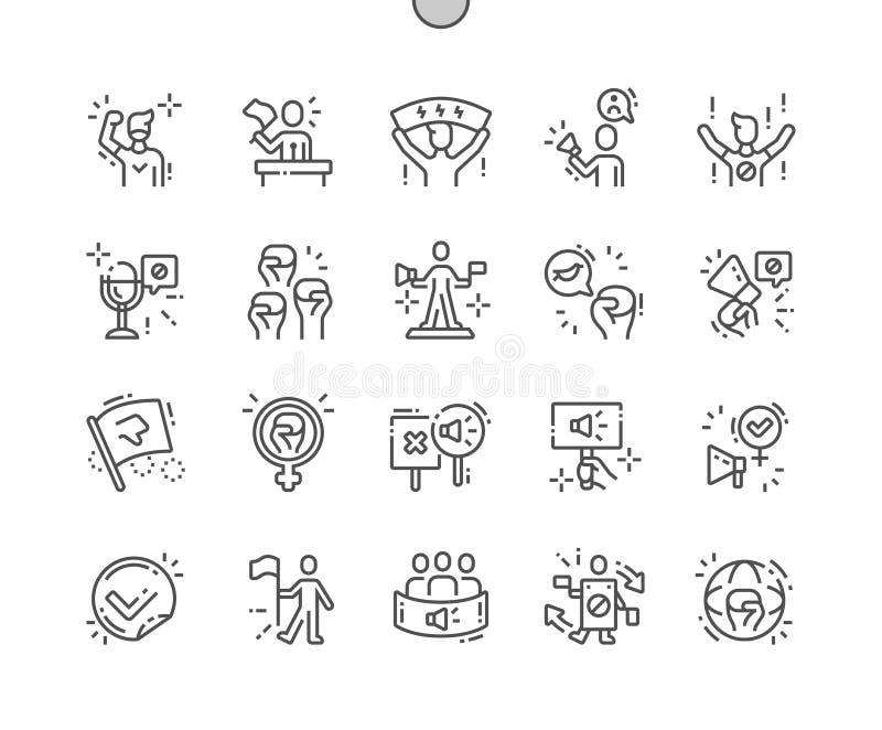 Ligne mince icônes de vecteur parfait de pixel Bien-ouvrée par activiste illustration stock