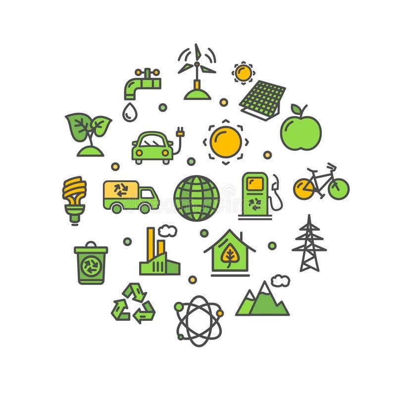 Ligne mince icône de calibre rond de conception d'écologie Vecteur illustration libre de droits