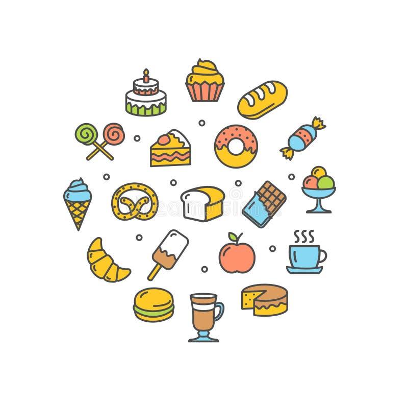 Ligne mince icône de calibre rond de conception de boulangerie Vecteur illustration stock