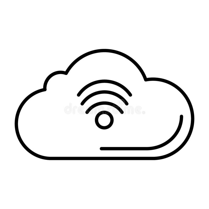 Ligne mince ic?ne de wifi de nuage E Style d'ensemble de r?seau illustration de vecteur