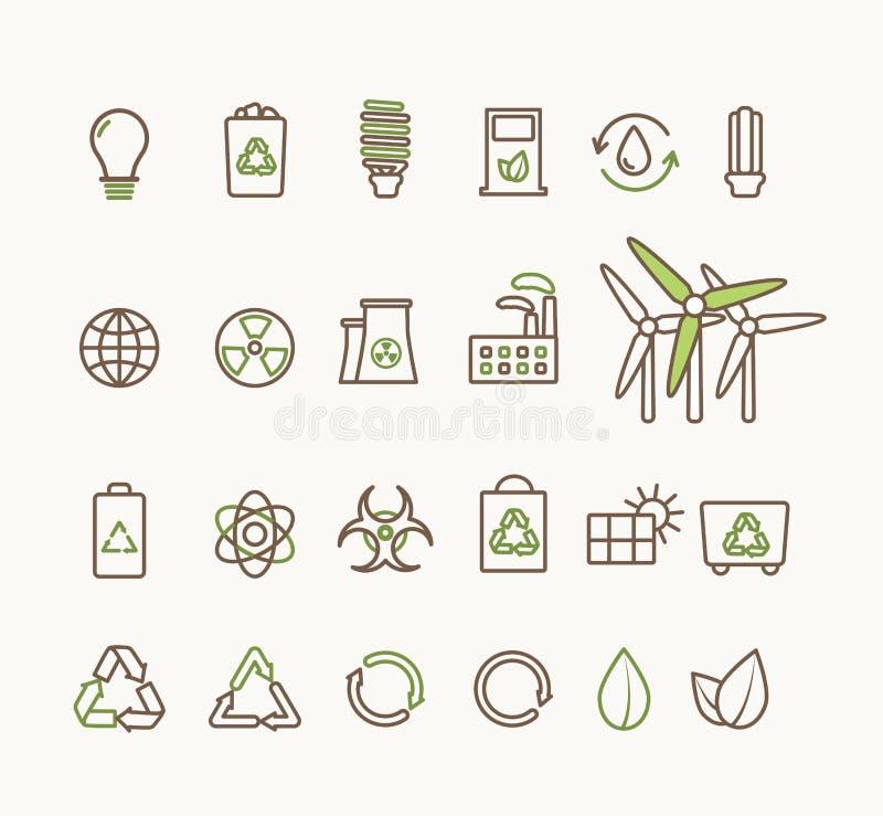 Ligne mince icônes écologiques de vecteur réglées Icônes pour ambiant, réutilisant, énergie renouvelable, nature illustration de vecteur