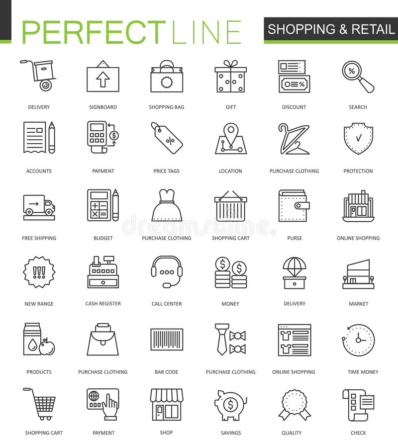 Ligne mince icônes d'achats et de vente au détail de Web réglées Conception en ligne d'icônes de course d'ensemble d'achats illustration libre de droits