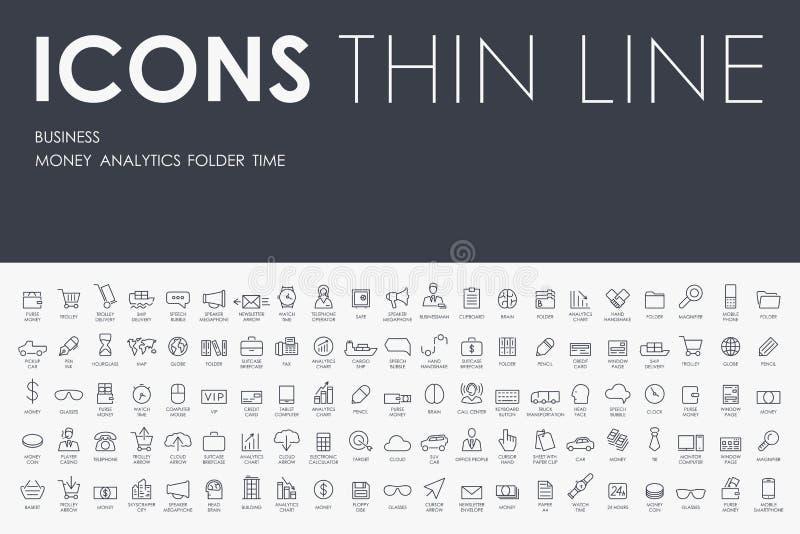 Ligne mince icônes d'affaires illustration de vecteur