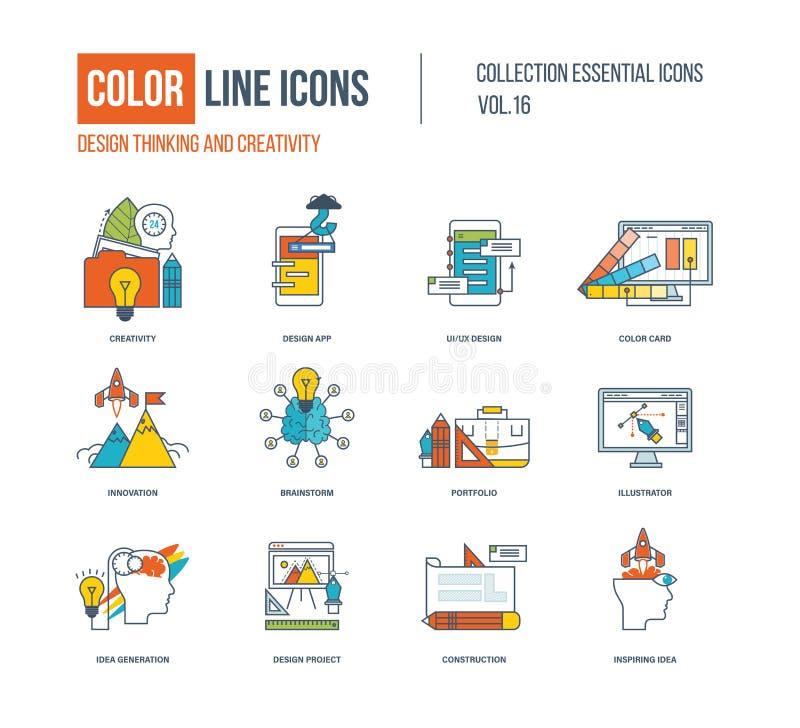 Ligne mince icônes de couleur réglées illustration de vecteur