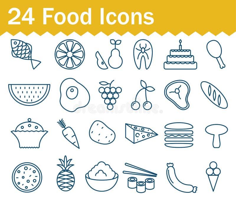 Ligne mince icônes de nourriture réglées Collection d'icône d'ensemble illustration de vecteur