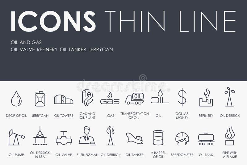 Ligne mince icônes de pétrole et de gaz illustration stock
