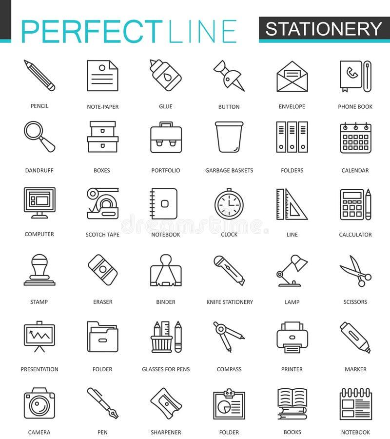 Ligne mince icônes de papeterie de bureau de Web réglées Conception d'icône d'ensemble illustration stock