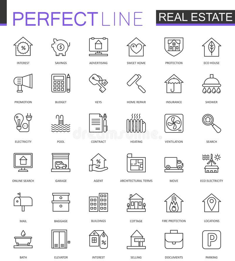 Ligne mince icônes de Real Estate de Web réglées Conception d'icône de course d'ensemble illustration libre de droits