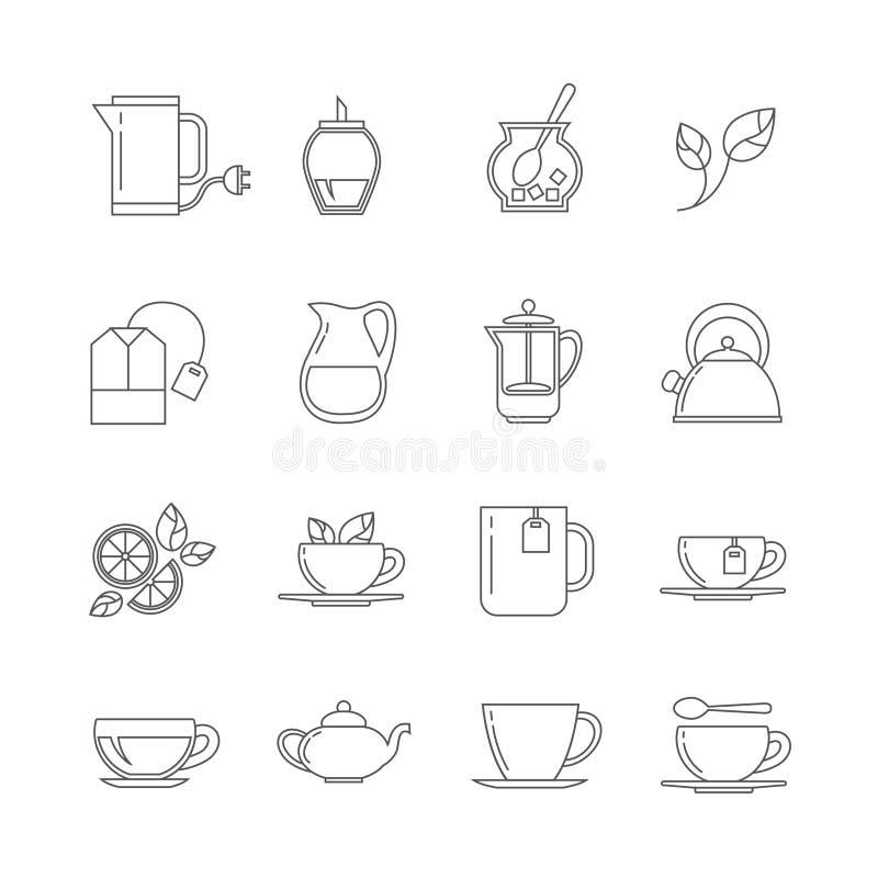 Ligne mince icônes de thé de vecteur réglées illustration de vecteur
