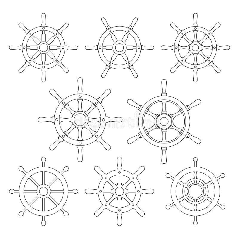 Ligne mince icônes de vecteur de barre de bateau réglées illustration libre de droits