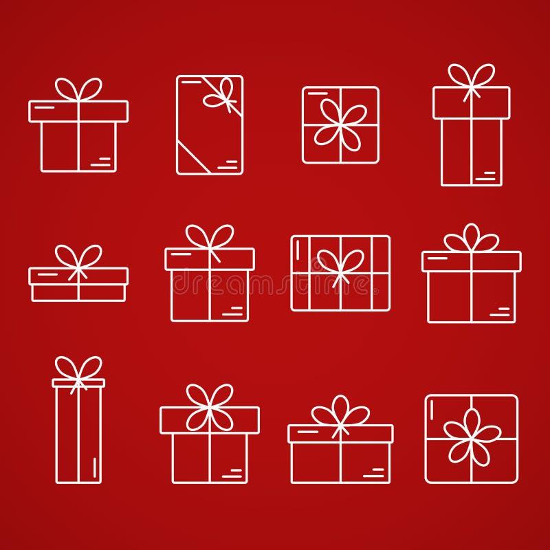 Ligne mince icônes de vecteur des boîte-cadeau illustration stock