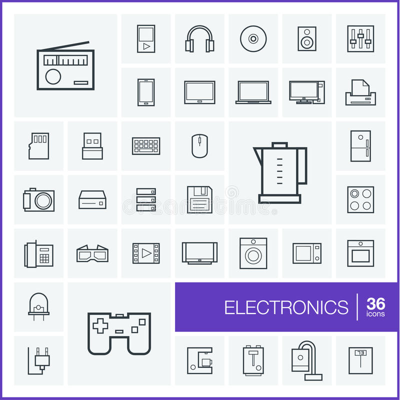 Ligne mince icônes de vecteur réglées L'électronique illustration libre de droits