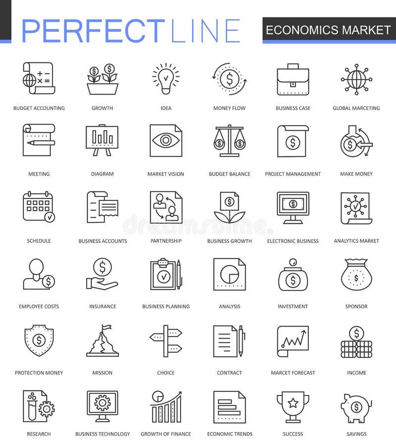 Ligne mince icônes du marché de sciences économiques de Web réglées Conception d'icônes de course d'ensemble illustration libre de droits