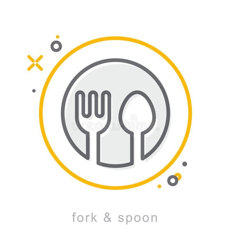 Ligne mince icônes, fourchette et cuillère illustration de vecteur