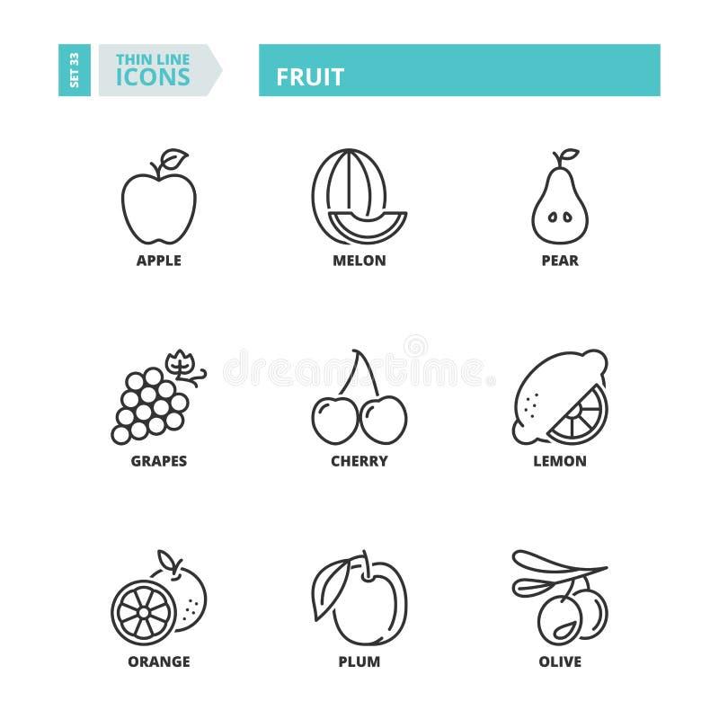 Ligne mince icônes fruit illustration libre de droits