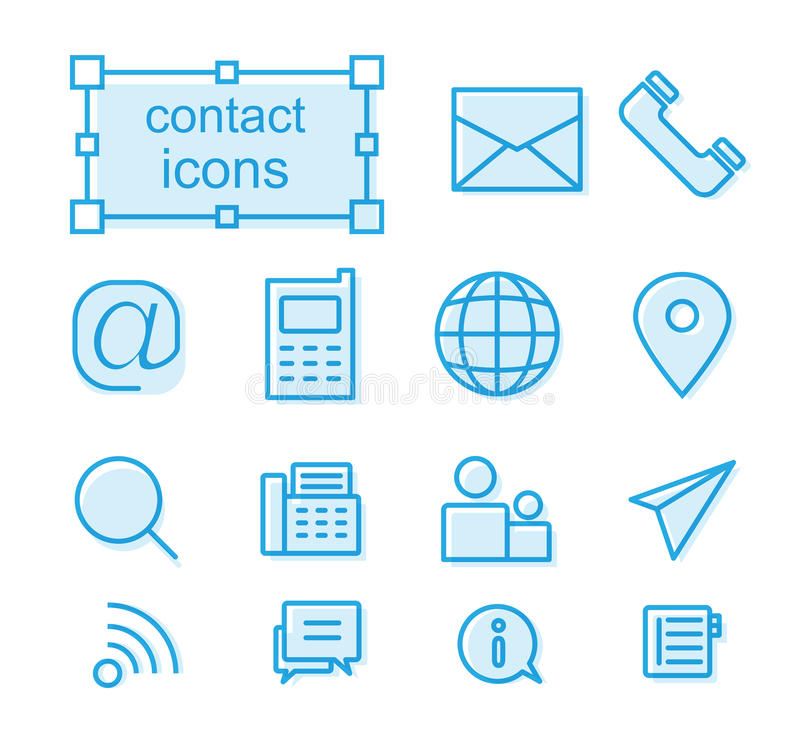 Ligne mince icônes réglées, contact illustration de vecteur