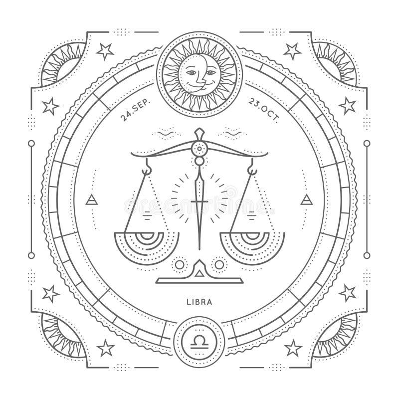 Ligne mince label de vintage de signe de zodiaque de Balance Symbole astrologique de rétro vecteur illustration de vecteur