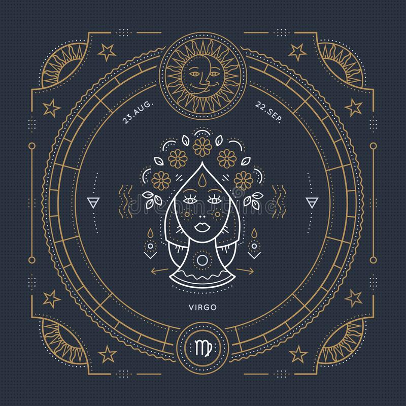 Ligne mince label de vintage de signe de zodiaque de Vierge Symbole astrologique de rétro vecteur illustration de vecteur